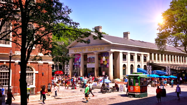 boston quincy market - boston stock videos and b-roll footage
