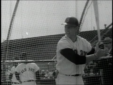 boston red sox player, carl yastrzemski, swinging and missing during 1967 world series vs. st. louis cardinals / united states - gabbia di battuta video stock e b–roll
