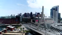Boston Skyline Aerial - Zakim Bridge