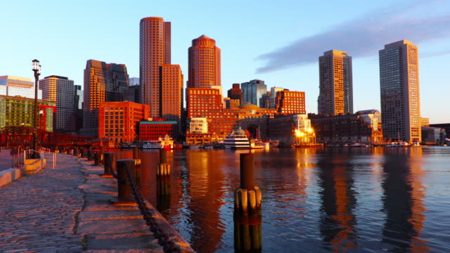 boston skyline along the harborwalk - waterfront stock videos & royalty-free footage