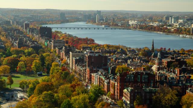 T/L WA HA  Boston skyline and Charles River in autumn