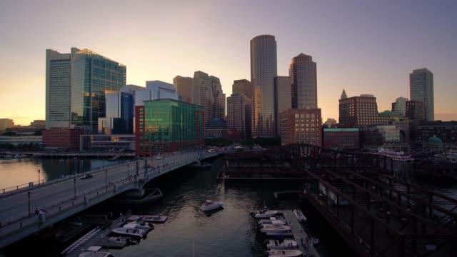 boston skyline at dusk / boston, usa - boston massachusetts stock videos & royalty-free footage