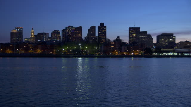boston skyline at night - river charles stock videos & royalty-free footage