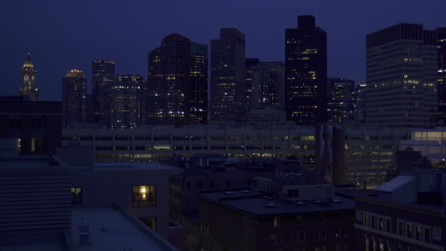 boston skyline at night - office building exterior stock videos and b-roll footage
