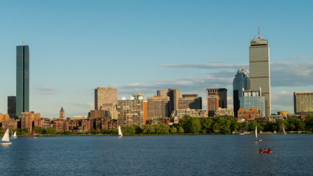 vídeos de stock, filmes e b-roll de boston skyline back bay timelapse - boston massachusetts