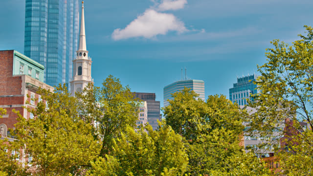 boston skyline. church. tree. nature. office building. residential old house. - boston massachusetts stock videos & royalty-free footage