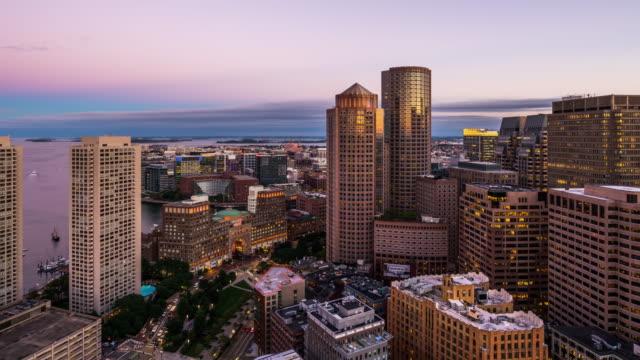 t/l ws ha zo boston skyline day to night transition / boston, usa - boston massachusetts stock videos & royalty-free footage