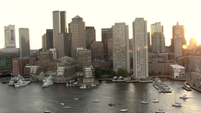 AERIAL, Boston skyline, John Joseph Moakley United States Courthouse and port Massachusetts