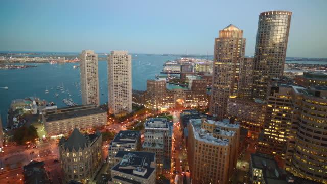 boston skyline, night,  water in bg - back bay boston stock videos & royalty-free footage