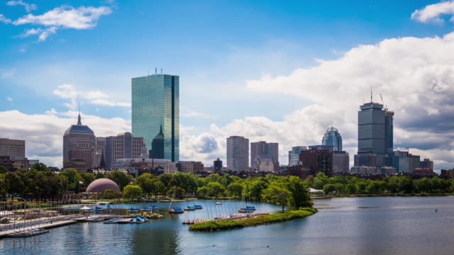 t/l ws zo boston skyline an einem sonnigen tag / boston, usa - boston massachusetts stock-videos und b-roll-filmmaterial