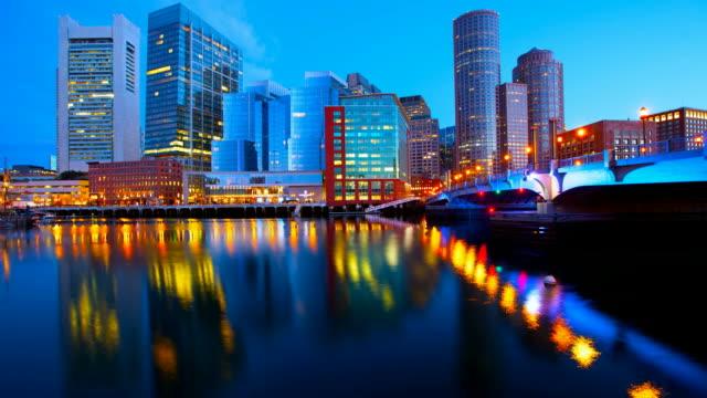 boston skyline timelapse - boston massachusetts stock videos & royalty-free footage