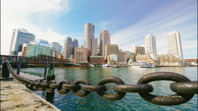boston skyline with financial district - boston massachusetts stock videos & royalty-free footage