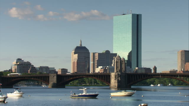 WS Boston skyline with Hancock Tower, Longfellow Bridge in foreground / Boston, Massachusetts, USA