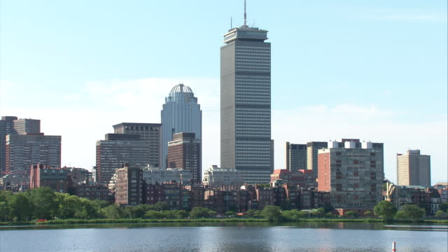 ws boston skyline with prudential tower across charles river / boston, massachusetts, usa  - river charles stock videos & royalty-free footage