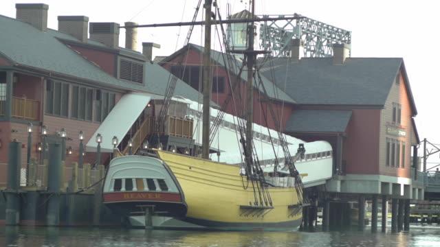 boston tea party ship the beaver - anchored stock videos & royalty-free footage