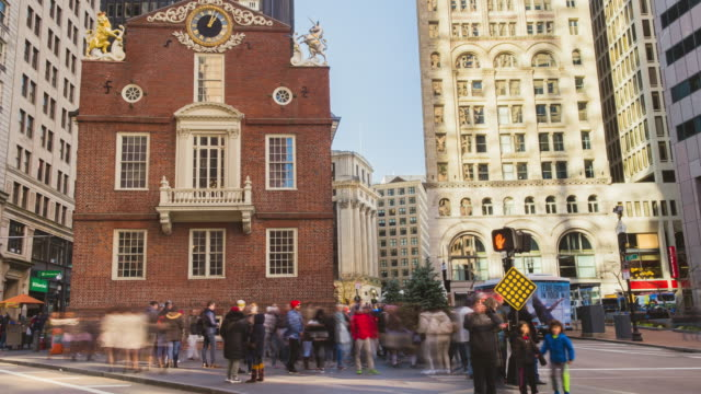 4k uhd boston time lapse footage of old state house and transportation  of the downtown financial district. crowd tourist travel visiting   american urban travel city concept - new england usa stock videos & royalty-free footage