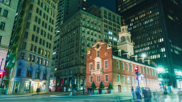4k uhd boston time lapse footage of old state house and transportation  of the downtown financial district. crowd tourist travel visiting   american urban travel city concept - boston massachusetts stock videos & royalty-free footage