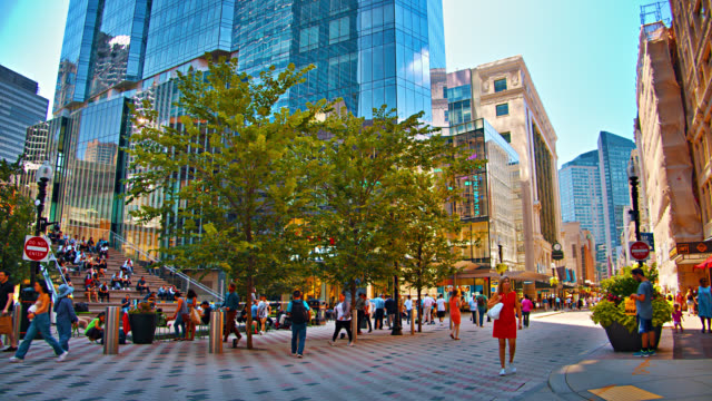 boston walking street. pedestrian. shopping district. - boston massachusetts stock videos & royalty-free footage