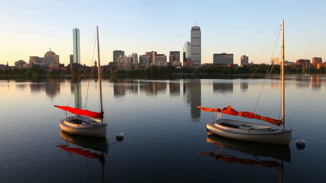 boston's back bay along the charles river - back bay boston stock videos & royalty-free footage