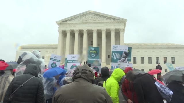 Both pro life and pro choice protesters hold rallies outside the US Supreme Court where a sensitive case focusing on abortion and free speech is...