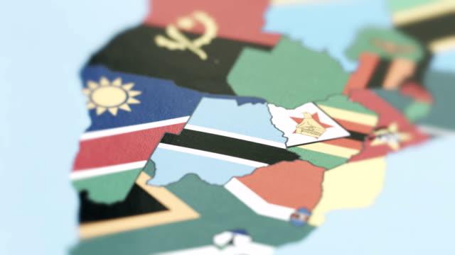 Botswana Borders with National Flag on World Map
