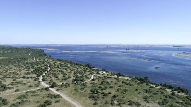 Paysage du Botswana. Rivière Chobe. Vue aérienne