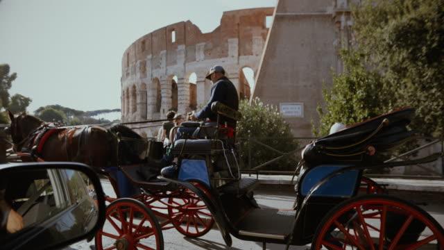 botticella typical horse coach from rome - cocchio video stock e b–roll
