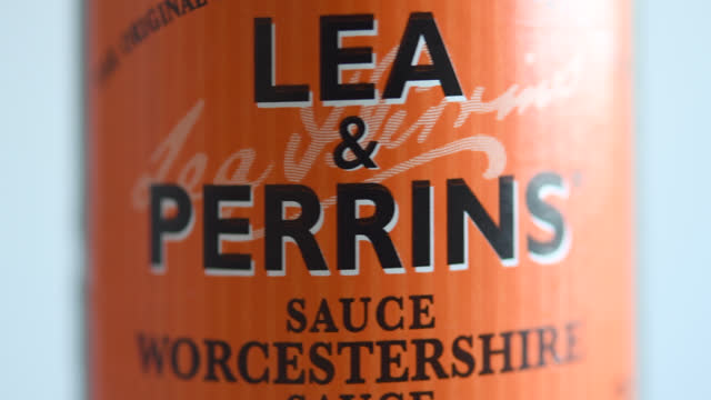 bottle of lea & perrins turns showing its label on november 8, 2020; in toronto, ontario, canada. lea & perrins is a united kingdom-based subsidiary... - ontario canada stock videos & royalty-free footage
