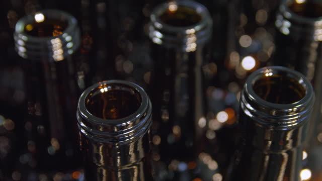 ecu bottles moving on feeder belt in bottling plant / sanlucar de barrameda, andalusia, spain - five objects stock videos & royalty-free footage