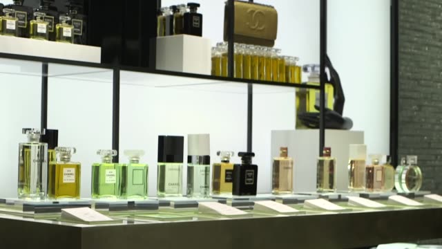 bottles of chanel sa perfume sit on display in the fashion label's new flagship store on new bond street in london, a bottle of chanel fragrance sits... - parfum stock-videos und b-roll-filmmaterial