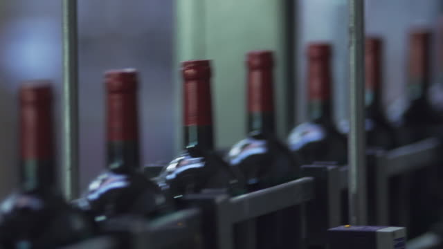 bottles on the bar for filling wine in france - economia video stock e b–roll