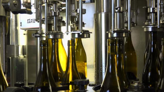 vídeos y material grabado en eventos de stock de bottling of wine in vinery - botella de vino