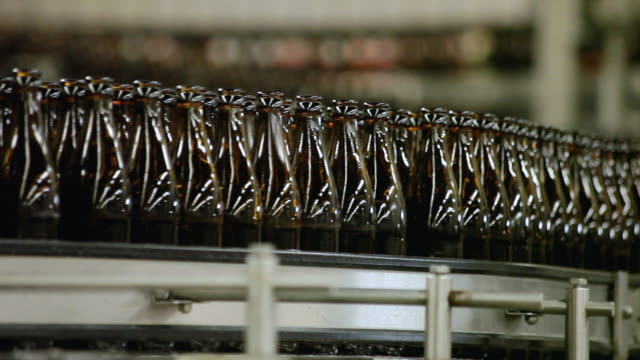 ms bottling plant of making beer inside brewhouse  / grafenhausen, baden-wuerttemberg, germany - bottling plant stock videos & royalty-free footage