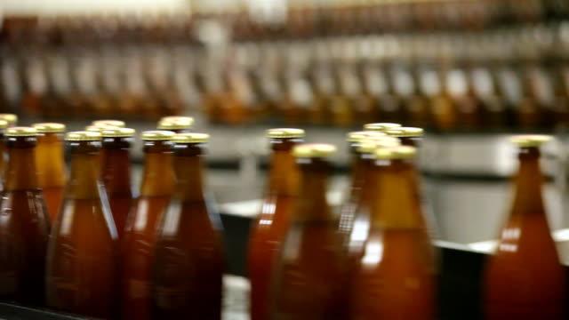 ms bottling plant of making beer inside brewhouse  / grafenhausen, baden-wuerttemberg, germany - bierflasche stock-videos und b-roll-filmmaterial