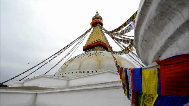 boudhanath pagoda kathmandu valley nepal - circa 5th century stock videos & royalty-free footage