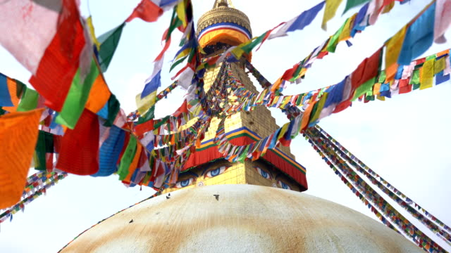boudhanath stupa in kathmandu ,nepal - flag stock videos & royalty-free footage