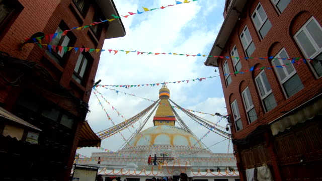 boudhanath stupa in kathmandu ,nepal - temple building stock videos & royalty-free footage
