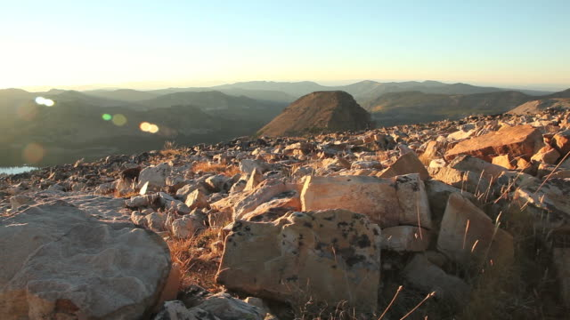 Boulders at sunset in Uinta National Forest.