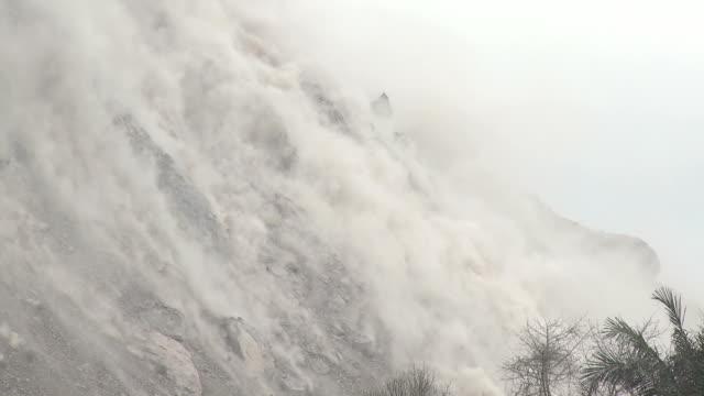 Boulders Crash Down Flank Of Volcano Lava Dome