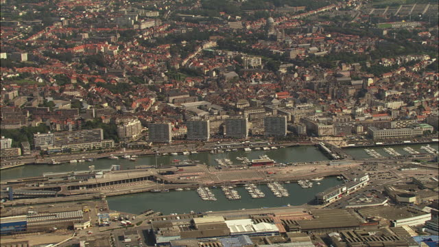 aerial, boulogne harbor, pas de calais, france - calais stock videos and b-roll footage
