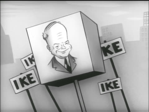 "bouncing cube sign with ike portrait / bouncing ""ike"" signs in background / tv commercial - 1952 bildbanksvideor och videomaterial från bakom kulisserna"