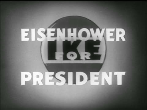 animation bouncing ike logo behind text eisenhower for president / tv commercial - anno 1952 video stock e b–roll