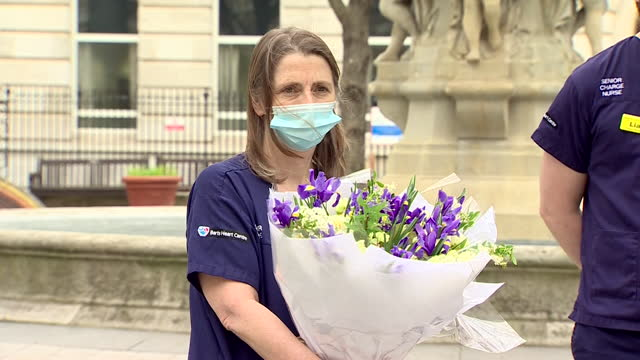 bouquet from the queen given to staff at bartholomew's hospital in london, on day of reflection, one year on from first uk coronavirus lockdown - bouquet stock videos & royalty-free footage