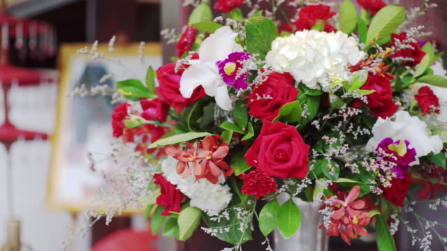 bouquet of fresh flowers decorated for a wedding ceremony. - bunch of flowers stock videos & royalty-free footage