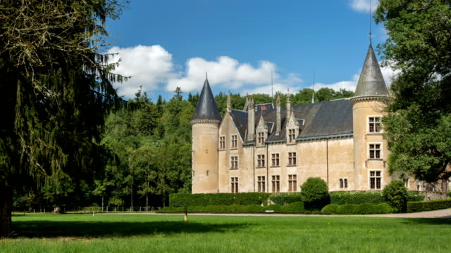 bourbilly castle, france - timelapse - french culture stock videos and b-roll footage