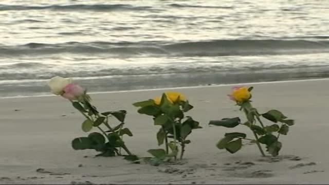 vídeos de stock, filmes e b-roll de memorial service held mourners away leaving service flowers lying on beach - cetáceo