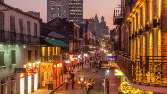 bourbon street at french quarter in new orleans - new orleans stock videos and b-roll footage