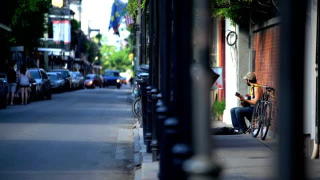 bourbon street french quarter ornate architectural new orleans - new orleans bildbanksvideor och videomaterial från bakom kulisserna