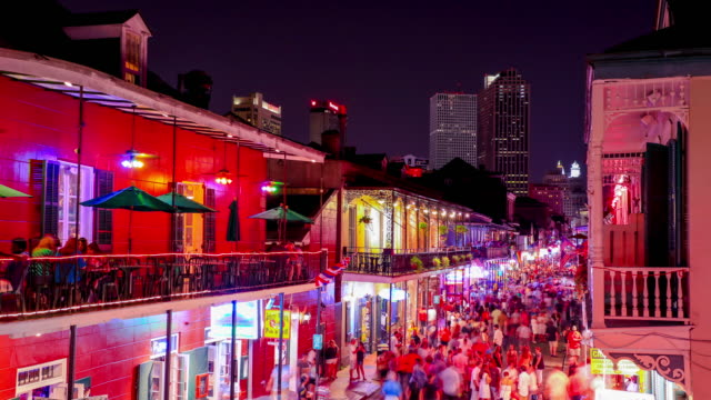 bourbon street, new orleans - new orleans stock videos & royalty-free footage