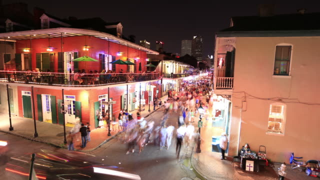 bourbon street, new orleans - bourbon street new orleans stock videos and b-roll footage